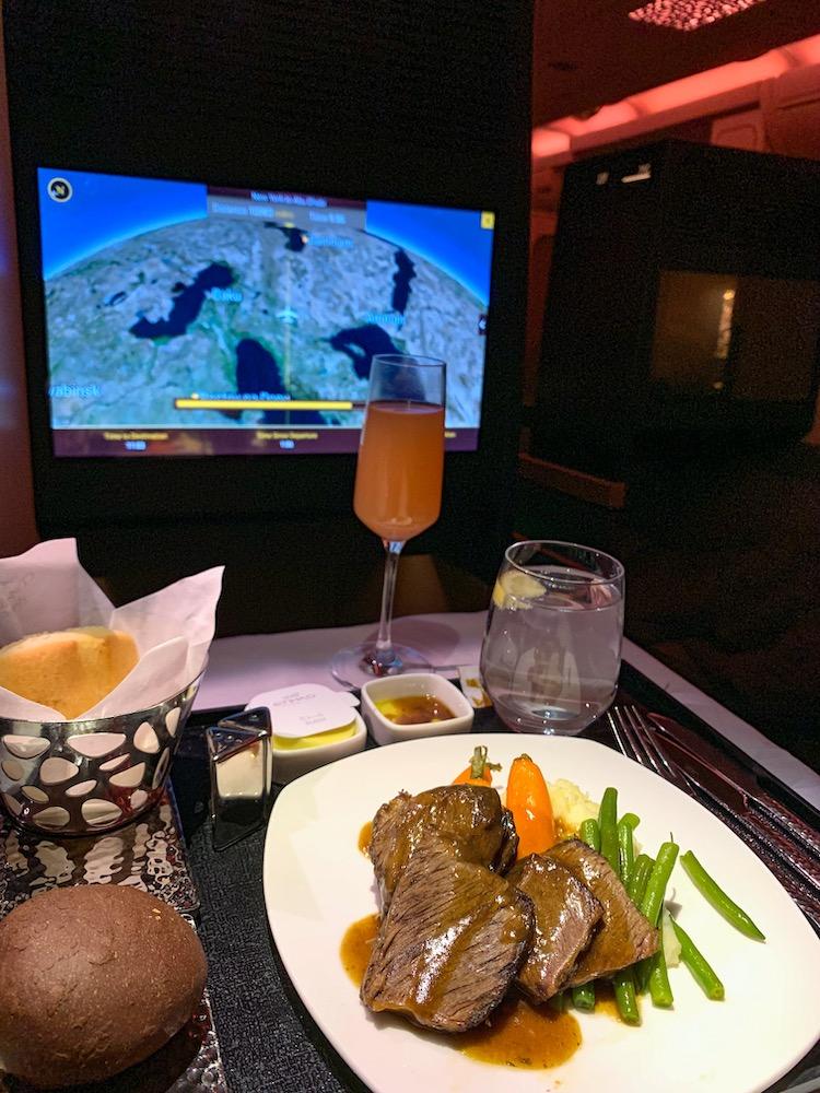 Etihad Airways Business Class Dinner Service